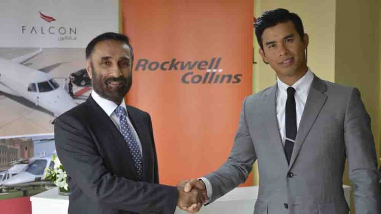 Raman Oberoi, COO of Falcon Aviation Services (FAS) and Bernard Stanley of Rockwell Collins